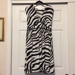Size 10 Loft Black and White Tiger Print Dress